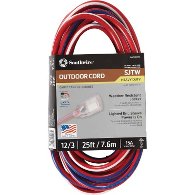 Southwire 25 Ft. 12/3 Indoor/Outdoor Red, White, & Blue Striped Patriotic Extension Cord