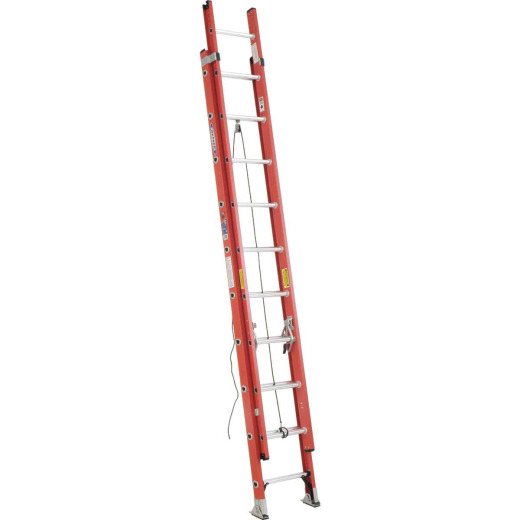 Werner 20 Ft. Fiberglass Extension Ladder with 300 Lb. Load Capacity Type IA Duty Rating